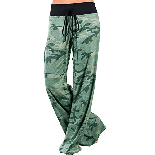 Artfish Women Loose Baggy Yoga Long Pants Floral Printed Trousers (2XL, Camo) Loose Fit Camo