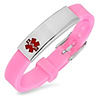 Free Engraving - Stainless Steel and Pink Rubber Medical Id Bracelet