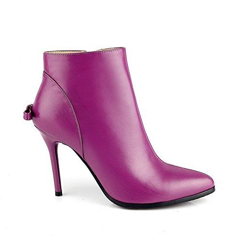 Amoonyfashion Womens Bout Pointu Fermé-orteils Pointes-stilettos Botte Avec Des Chaussures Rose Et Stiletto Winkle Violet