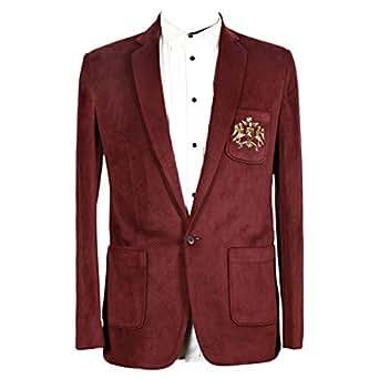 Libas Riyaz Gangji Red Corduroy Blazer For Men