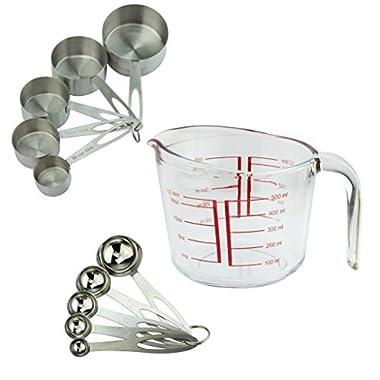 Teikis 11 Piece Measuring Set [5 Piece Measuring Cup + 5 Piece Measuring Spoon + 1 Measuring Glass (500ml)]