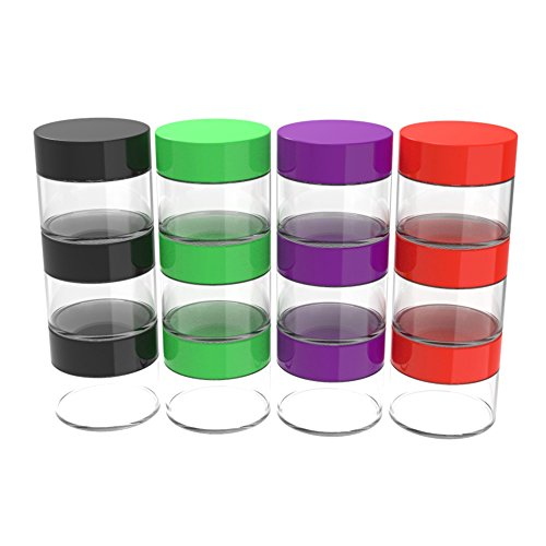 Stalwart 75-0268 12 Piece Storage Jars with Colored Lids, 20ml, Clear -