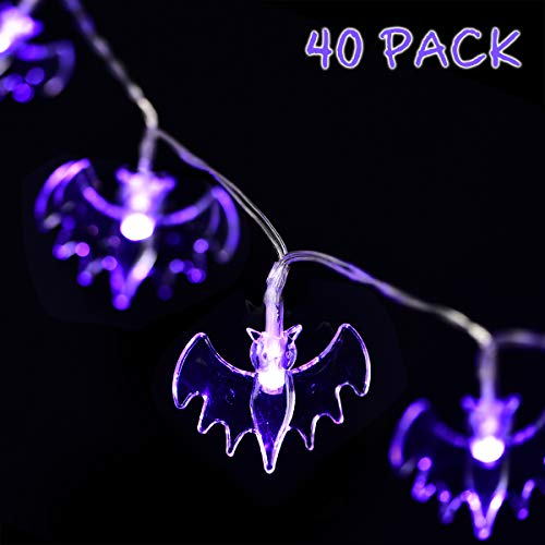 GIGALUMI Halloween String Lights, 15ft 40 Purple Bats Lights Halloween Decoration Lights 2 Modes, Battery Powered