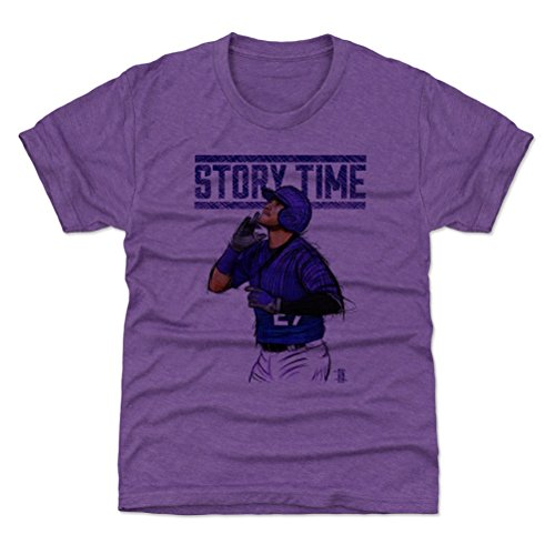 500 LEVEL Colorado Baseball Youth Shirt - Kids Medium (8Y) Heather Purple - Trevor Story Time P ()