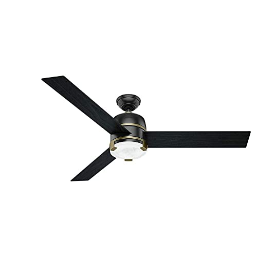 Hunter Indoor Ceiling Fan with LED Light and remote control – Bureau 60 inch, Black, 59290