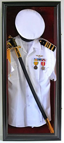 Military Shadow Box Uniform Sword/Gun Display Case, with LOCK. Black finish FC44(RED)-BLA by DisplayGifts