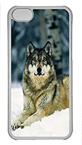 Shell Case for iphone 5C with Gray Wolf DIY Fashion PC Transparent Hard Skin Case for iphone 5C