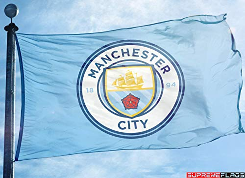 (Manchester City Flag Banner 3x5 ft England Premier Football Soccer New)