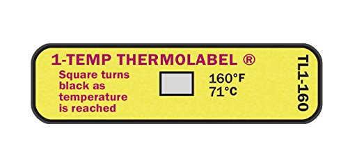 - 1-Temp Thermolabel 160°F/71°C Temperature Label for Dishwashers Pack of 24 Labels