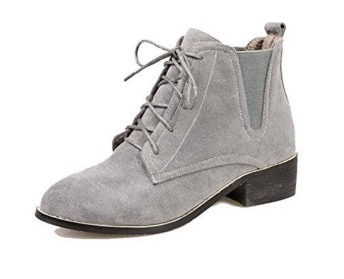 AgooLar Women's Frosted Lace-up Round Closed Toe Low-Heels Low Top Boots Gray BmnpZ8Pgtd