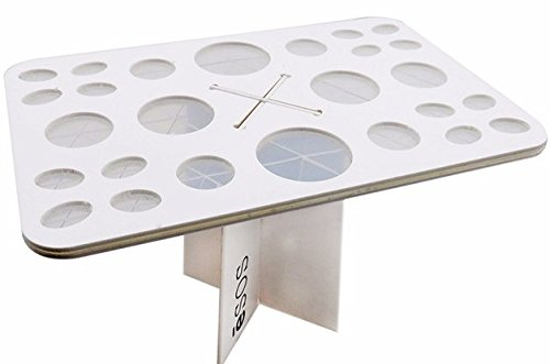 Silver Dresser N Mirror (eSOS Makeup Brushes Drying Rack Makeup Brush Holder Quality Cosmetic Acrylic Stand Organizer 26 Hole Art Brush Tree Tower White)