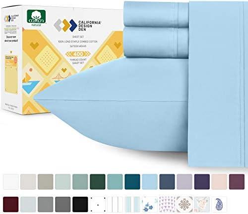 California Design Den 400 Thread Count 100 Cotton Sheet Set Aero Blue King Sheets 4 Piece Set