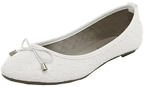Refresh Footwear Womens Intrecciato Woven Ballet Flat White 4gRFI