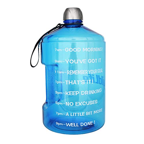 - BuildLife 1 Gallon Water Bottle Motivational Fitness Workout with Time Marker|Drink More Water Daily|Clear BPA-Free|Large 128OZ of Water Throughout The Day (1 Gallon-Light Blue,1 Gallon)