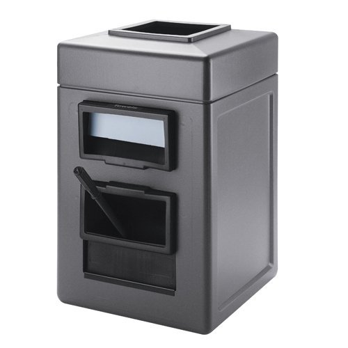 Islander Series 28-Gal Square Waste and Wipe Service Center Color: Gray