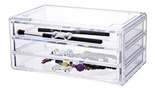 QUBABOBO Acrylic Jewelry and Cosmetic Organizer,Storage Display Box,Makeup Drawers 6402