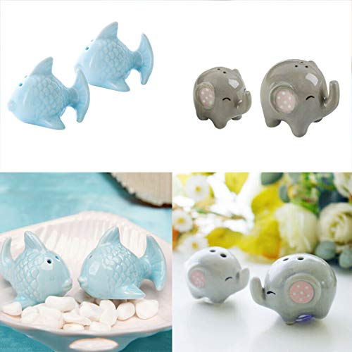 (BROSCO 4X Ceramic Animal Salt and Pepper Shaker Kitchen Seasoning Spice Tools Kit)