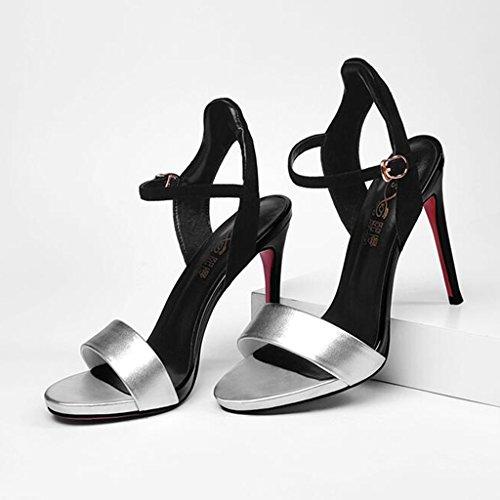 High Sexy Silver Toe Heeled CJC Fashion Sandals Elegant Nightclub Platform High Thin Heels Heels Open Waterproof High IOnXOxa