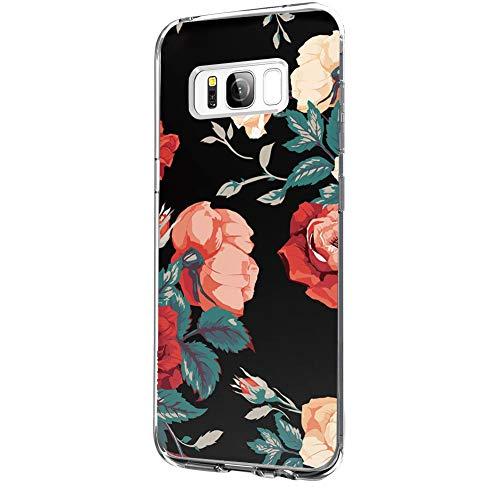 Riyeri Hülle Compatible with Samsung Galaxy S8 Hülle Klar Slim TPU Silikon Bumper Handyhülle für Samsung S8 Plus - Marmor & Blume