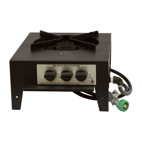 Gas Countertop Single Side Burner - Lazyman 60,000 BTU 3 Ring Single Burner Utility Stove -LP