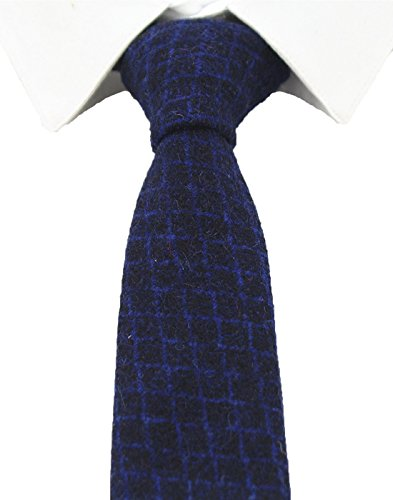 JEMYGINS Plaid Cashmere Necktie Solid Wool 2.4