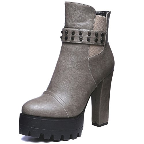 Gray Shoes Ankle Heel Women's Platform LongFengMa High Rivet Boots fqaSSA