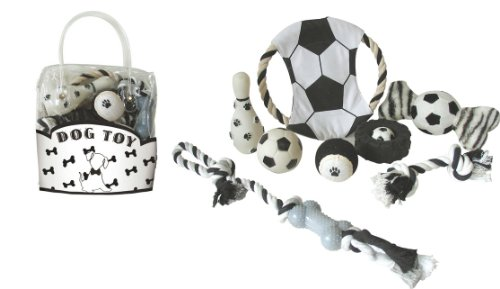 Pet Life Soccer Themed' 9 Piece Jute Rope and Rubberized Squeak Chew Pet Dog Toy Gift Set, One Size, Black and White by Pet Life