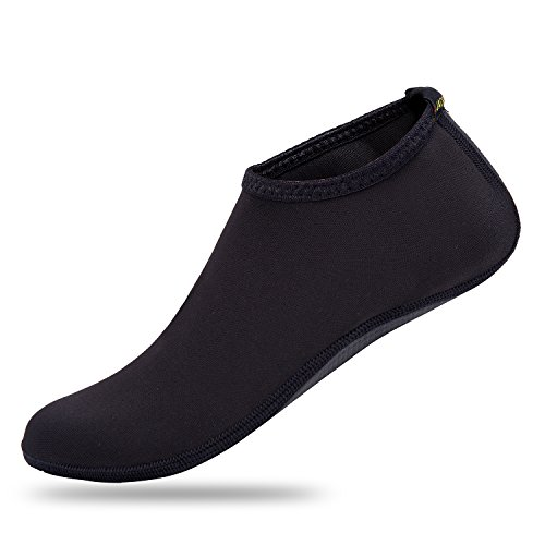 JACKSHIBO Men Women and Kids Quick-Dry Water Skin Shoes Aqua Socks For Water Sports Swim Surf Yoga Exercice Beach Black rrH7rA