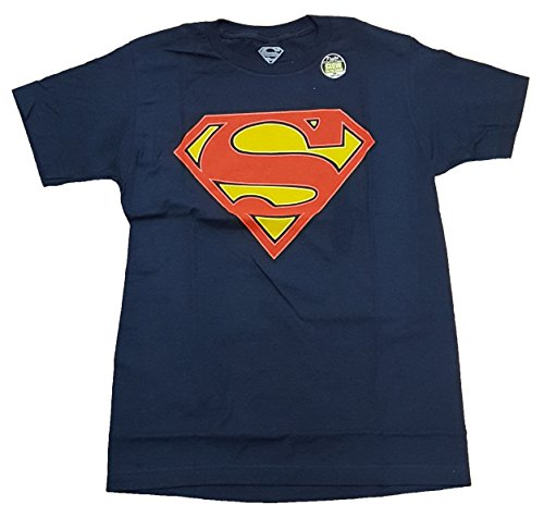 DC Comics Superman Glow In The Dark Logo Navy Graphic T-Shirt - -