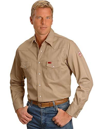 Wrangler Men's Flame Resistant Western Two Pocket Snap Shirt, Khaki, -