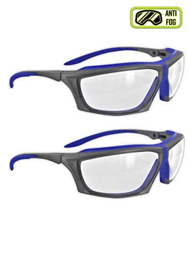 ANSI Z87 Impact Resistant Anti-Fog Safety Glasses with Ratcheting Temple System & TPR Cushion, UV Resistant, Scratch Resistant (2 Pair)
