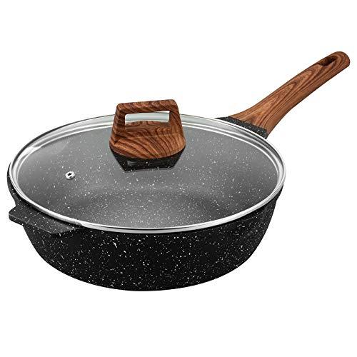 ESLITE LIFE Deep Frying Pan with Lid Nonstick Saute Pan with Granite Coating, 9.5 Inch (3 Quart)