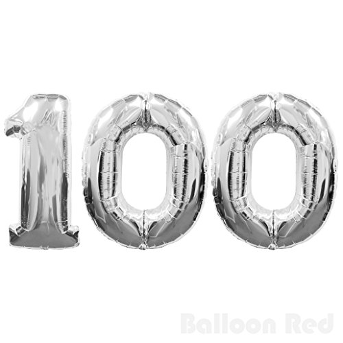 Number 100 Giant Jumbo Helium Foil Mylar Balloons, 40 inch, Glossy Silver, Premium Quality, for 100th Birthday Party