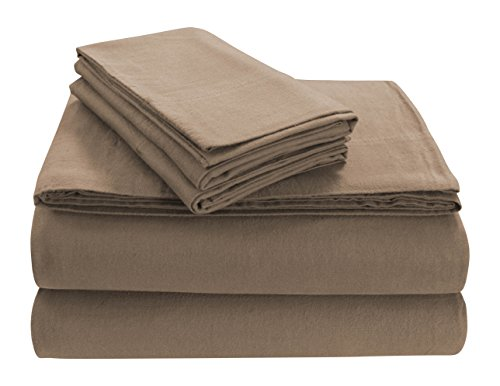 Tribeca Living SOLFL170SSKICA Solid 5-Ounce Flannel Extra Deep Pocket Sheet Set King Cashmere,