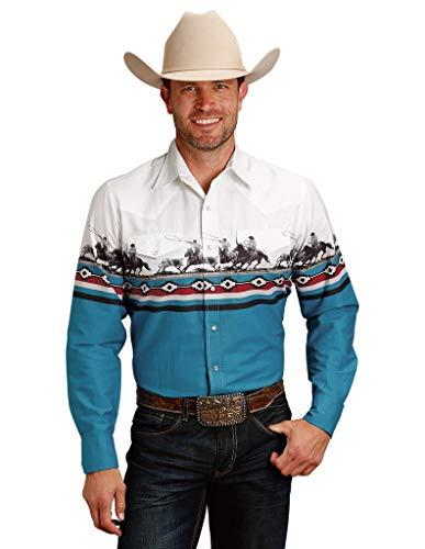 (Roper Men's Border Horse Print Long Sleeve Western Shirt White Large)