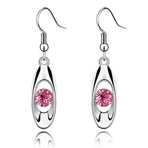 (Rurah Fashion Crystal Unique Design Flower Teardrop Dangle Earrings for Women and Girl,rose Red )