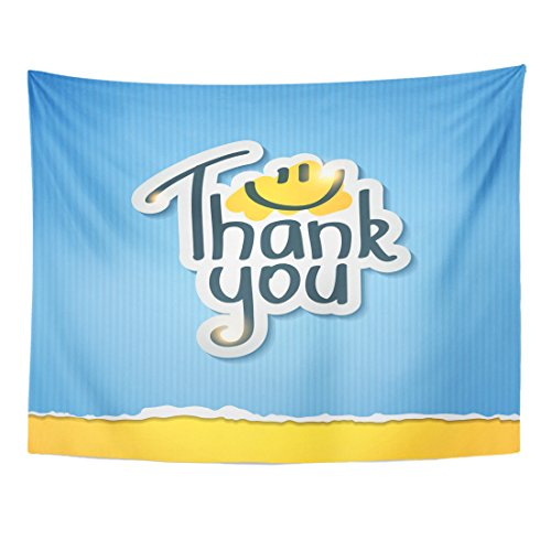 TOMPOP Tapestry Blue Smile Thank You Inscription on Yellow Funny Note Home Decor Wall Hanging for Living Room Bedroom Dorm 60x80 Inches