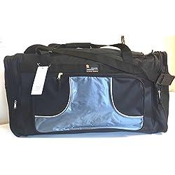 "Charlie Sport BLACK w/Gray 28"" 50lb. Capacity Duffle Bag/ Gym Bag / Luggage / Suitcase/Tote"