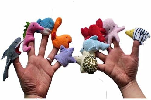 Juego de 10 Marionetas de Dedo - Series Animales marinos de Cable