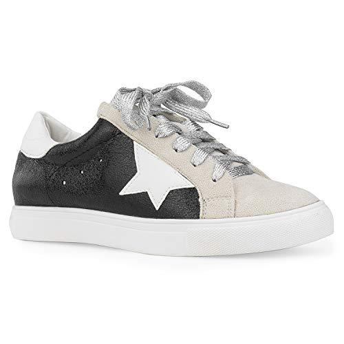 Women's Casual Low Top Trendy Fashion Sneakers Flats Black Metallic ()