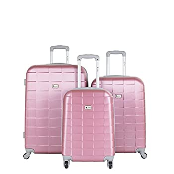 Image of AMKA Lightweight Abs Spinner Expandable Luggage Set, Mauve, 3 Piece Luggage
