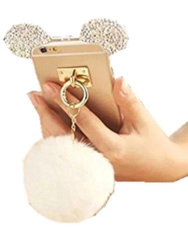 iPhone 5s Case,FreeAir Luxury Bling Rhinestone Crystal Clear Rabbit Fur Puffer Ball Tassel Pendant Mouse Ear Case For iPhone 5s (Clear Rhinestone Iphone 5s Case)