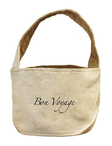 Bon Voyage Vintage Look Canvas and Burlap Storage Basket
