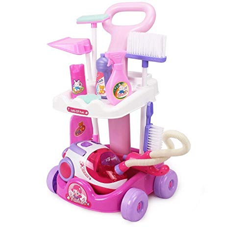 GARISH PIGS Electronic Light & Sound Child cart Cleaning Belt Vacuum Cleaner Cleaning Tools Set car Clean Play House Toy Girl Gift