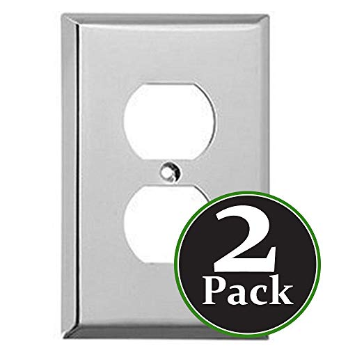 2 pk Duplex 1-Gang Device Receptacle Wallplate,Standard Size,Mount,Wall Plates Kit, Home Electrical Outlet Cover, Chrome Plated Steel Material, Pack Dual Port Replacement Faceplates Covers One ()