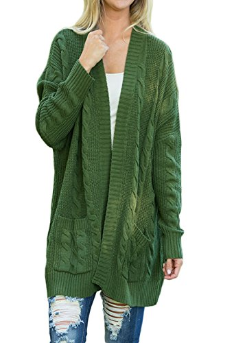 Woman Casual Woman Knit Cardigan Coat (Green) - 5