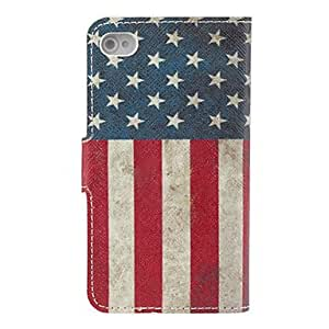 TL Vintage US Flag Pattern PU Full Body Case with Card Slot and Stand for iPhone 4/4S