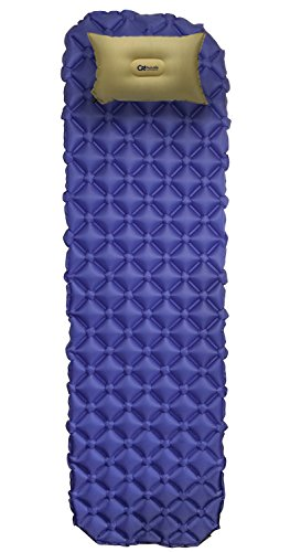 COZINITE Super Soft Ultralight Inflatable Sleeping Pad an Inflatable PILLOW and a 3- PACK Repair Kit. Large, Navy Blue,Water Proof, Super Compact and perfect for Camping and Traveling