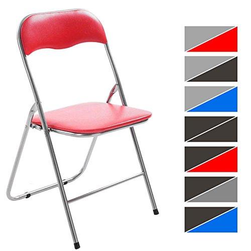 CLP Silla Plegable Felix con Estructura de Metal I Silla de Conferencia Acolchada I Silla de Eventos Plegable I Color: Rojo/Plateado