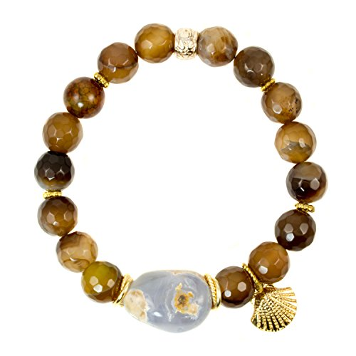 Focal Faceted Bead - Caramel Banded Agate with Blue Chalcedony Focal Bead with Vermeil Shell Charm - Gemstone Stretch Bracelet